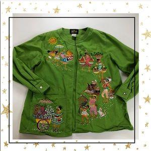 Bob Mackie Green Embroidered Jacket (Jo23F5K)